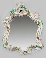 Large salon mirror with applied floral decoration