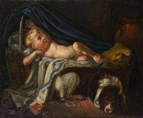 French painter: baby with dog