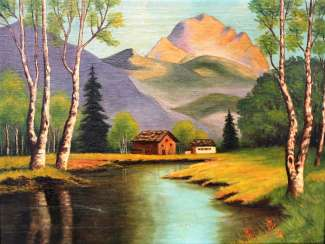"The picture ""Two of a cabin in the mountains by the lake"" , 1941"