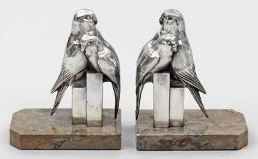 Pair of figurative Art Deco bookends with budgies