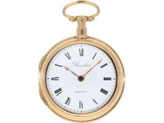 Pocket watch: large and heavy English double case-Spindeluhr, manufactured in 18K rose gold, eminent English watchmaker, a business partner of Breguet, Louis Recordon, London No. 9109, listed 1778-1824