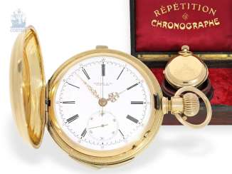 Pocket watch: especially heavy gold savonnette minute repeater and Chronograph, signed Tiffany & co. New York, CA. 1880