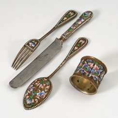 4 Russian Cloisonné pieces of Cutlery, Jug