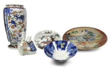 Three bowls and two vases with a variety of decors