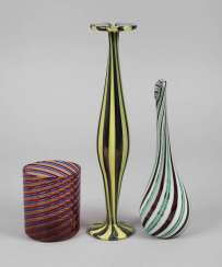 Murano three vases decorated with a Spiral motif