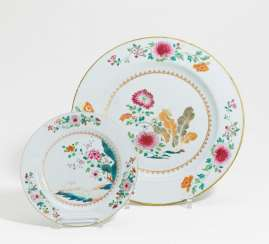 Large and small plate with flowers, Chinese cabbage and goats