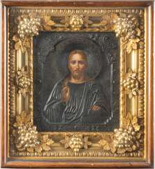 ICON WITH CHRIST PANTOCRATOR WITH SILVER OKLAD, IN THE ICON CASE