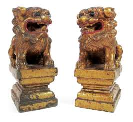 PAIR OF STONE LIONS WITH PAINT,