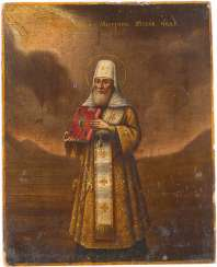 A SMALL ICON WITH THE SAINTS ALEXIS, METROPOLITAN OF MOSCOW