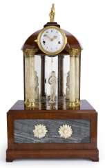 Magnificent Biedermeier table clock with flute music box in the Form of a Tempietto. Austria, C. 1825
