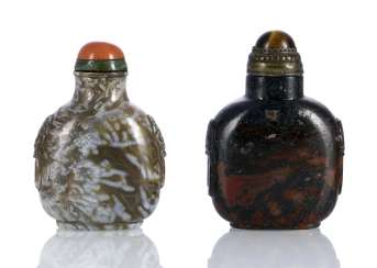 Two decorative marbled agate-Snuffbottles with raised mask handles