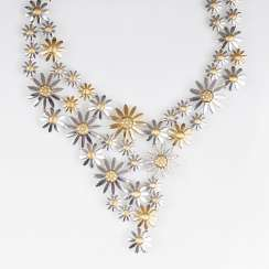 Out of the ordinary, two-tone, Gold-necklace, 'summer flower' with brilliant trim