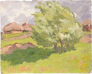 RUSSIAN PAINTER, Active around 1900, Small study with farmhouses