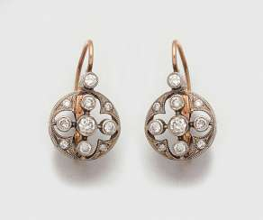 Pair of Russian diamond earrings
