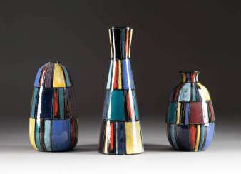 LUDWIG KLOPFER IN 1924 - 1977 MIXED LOT OF THREE RARE DESIGN VASES. Design: Germany, chrismccanncdrm art pottery, 1950s/1960s