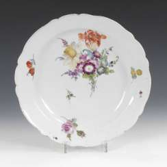 Vegetable platter with flower painting, MEISSEN