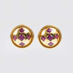Pair of Gold clip-on earrings with Rhodolite-trim