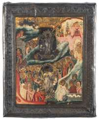 Descent into hell and resurrection of Christ with silver plasma