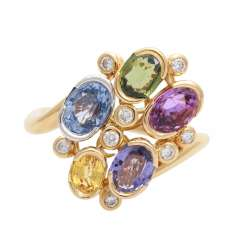 Ladies ring with sapphires in various colors