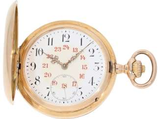 Pocket watch: very nice solid 14K Gold Savonnette of the IWC brand from the year 1907, with the master excerpt from the book