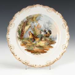 Dishes with poultry, painting, Meissen.