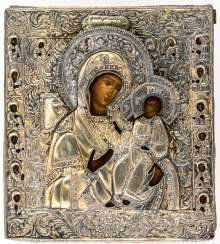 Icon of the mother of God Iverskaja with crafted very well-crafted Messingoklad