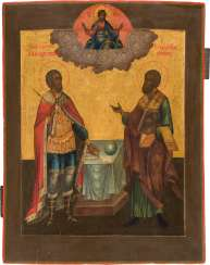 MONUMENTAL DATED ICON WITH SAINT ALEXANDER NEWSKI AND SAINT ARCHIPPO Central Russia