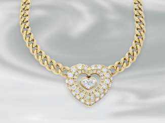 Necklace/Collier: high-quality decorative brilliant-heart necklace, a total of approximately 2.15 ct, 18K yellow gold