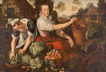 COUNTRY WOMEN WITH VEGETABLES AND FRUITS