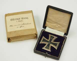 Prussia: Iron Cross, 1914, 1. Class, in a case, with Outer box KO.