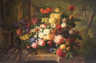 Large flower still life in the style of the Dutch milling school, 20th century