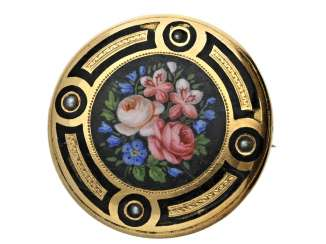 Brooch: a rare and fine Gold/enamel brooch from the Biedermeier period, around 1850