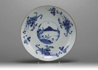 Qing Dynasty blue and white porcelain landscape painting plate