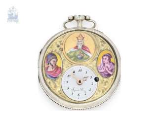 Pocket watch: extremely rare Spindeluhr with decentralized time display, 3 enamel medallions and a hidden erotic scene, master watchmaker, Jaquet Droz, No. 28677, around 1800