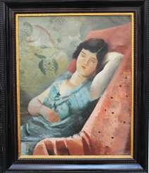 Unknown Artist around 1920, sleeping beauty, oil on canvas, framed