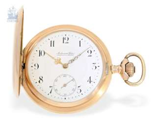 Pocket watch: heavy red-gold Savonnette, Anchor chronometer Audemars Freres for the Russian Empire, around 1900