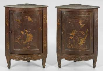 Pair of corner cabinets with Chinoiserie decor