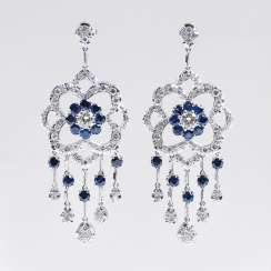 Pair of very fine sapphire and diamond earrings