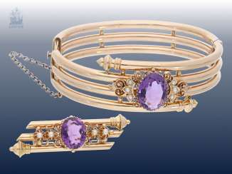Bracelet/bangle/brooch: antique jewelry, studded with fine amethysts, original box, around 1900