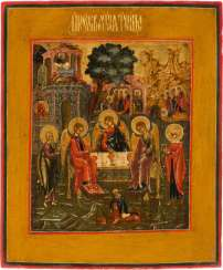 FINE ICON WITH THE OLD TESTAMENT TRINITY Russia