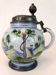 Big Ball Belly Pitcher: Faience Jug 18. Century, Tin cap, signed.