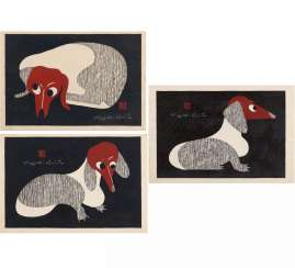 Three framed woodcuts with dachshunds