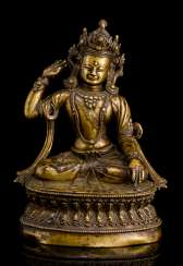 The founder of the Bon Religion, GSHEN.RAB.RNAM.PAR.RGYAL.PO, Bronze with silver deposits