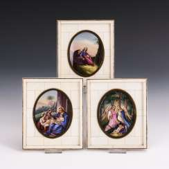 3 porcelain paintings with Christian motifs