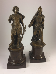 A pair of statues of the late.XIX art.