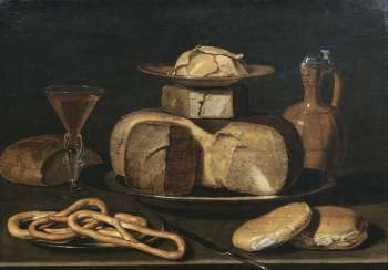 Still-life with cheese, mug, pretzels, bread, and wine. Clara Peeters