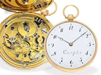 Pocket watch: very fine, extremely rare large Lepine with 1/8 Repetition and early anchor escapement, Vaucher Fréres No. 11378, around 1820