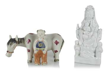 Boy with horse and Guanyin porcelain