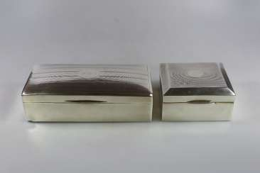 Couple of cigarette tins, silver hallmarked with wood core