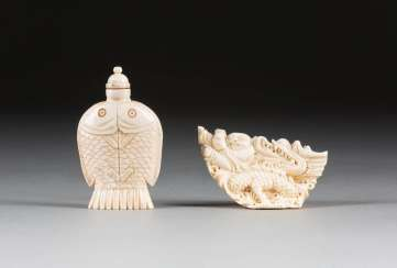 IVORY FIGURE AND SNUFFBOTTLE